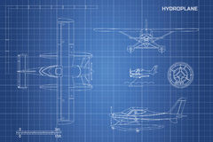 Engineering blueprint of plane. Hydroplane view: top, side and front. Industrial drawing of aircraft Royalty Free Stock Images