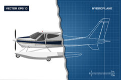 Engineering blueprint of plane. Side view of hydroplane. Industrial drawing of aircraft. Vector illustration vector illustration