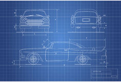 Engineering blueprint of retro car. Vintage cabriolet. Front, side and back view. Industrial drawing Royalty Free Stock Images