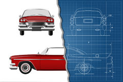 Engineering blueprint of retro car. Vintage cabriolet. Front, side and back view. Industrial drawing Stock Image