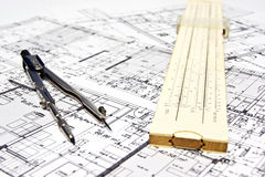 Engineering blueprint and tools Royalty Free Stock Images
