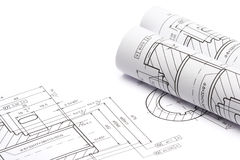 Engineering blueprints Royalty Free Stock Image