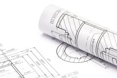 Engineering blueprints Stock Photos