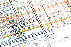 Engineering blueprints Stock Photography