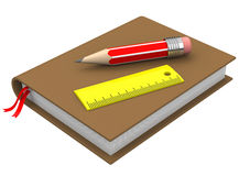 The engineering book. 3d generated picture of a pencil, a ruler and a book royalty free illustration