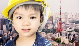 Engineering boy with tokyo city in the background for future education. Concept Stock Images