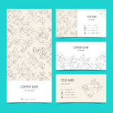 Engineering business cards, flyers, leaflets with the drawings. Blue color. Vector Royalty Free Stock Images