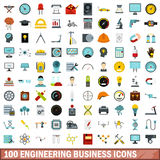 100 engineering business icons set, flat style. 100 engineering business icons set in flat style for any design vector illustration Stock Photography