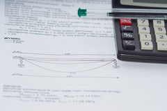 Engineering calculations. On a paper Stock Images
