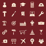 Engineering color icons on red background Stock Photo