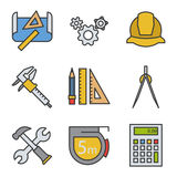 Engineering color icons set. Drawing, gears, helmet, caliper, divider, hammer and wrench, measuring tape, calculator Royalty Free Stock Photography