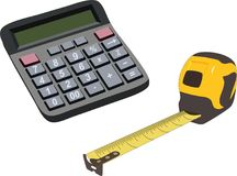 Engineering color icons set. Measuring tape, calculator. Vector isolated illustration. Stock Photos