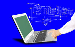 Engineering computer Internet technologies. Global innovative computer Internet technologies for engineering designing business stock image