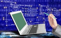 Engineering computer Internet technologies. Global innovative computer Internet technologies for engineering designing business royalty free stock photo