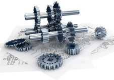 Engineering Concept. Mechanical and technical engineering concept of designing and buildinga a machine Stock Photos