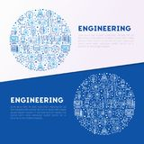 Engineering concept in circle. With thin line icons: engineer, electronics, calculations, tools, repair, idea, it server. Modern vector illustration for web Royalty Free Stock Images