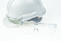 Engineering concept, safety helmet and glasses Royalty Free Stock Images