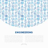 Engineering concept with thin line icons. Engineer, electronics, calculations, tools, repair, idea, it server. Modern vector illustration for web page, banner Royalty Free Stock Photos