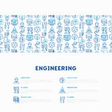 Engineering concept with thin line icons. Engineer, electronics, calculations, tools, repair, idea, it server. Modern vector illustration for web page, banner Stock Photography