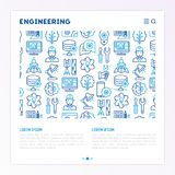Engineering concept with thin line icons. Engineer, electronics, calculations, tools, repair, idea, it server. Modern vector illustration for web page, banner Royalty Free Stock Image