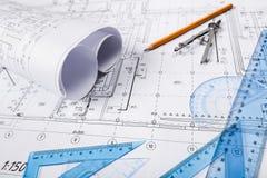 Engineering. Construction Engineer Blueprint Architect Plan Design Royalty Free Stock Photo