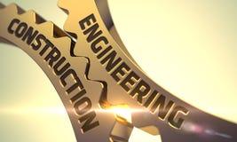 Engineering Construction on Golden Metallic Gears. 3D Stock Photography