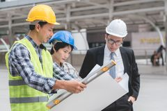 Free Engineering Construction Teamwork Concept : Professional Engineer Work Industrial Project Site Royalty Free Stock Image - 108204826