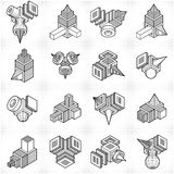 Engineering constructions collection, abstract vectors set. Royalty Free Stock Photo