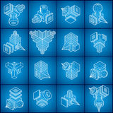 Engineering constructions collection, abstract vectors set. Royalty Free Stock Images
