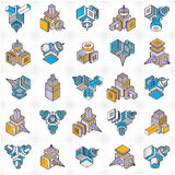 Engineering constructions collection, abstract vectors set. Stock Photography
