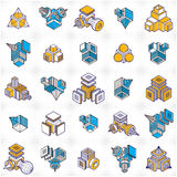 Engineering constructions collection, abstract vectors set. Royalty Free Stock Photography