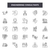 Engineering consultant line icons, signs, vector set, outline illustration concept vector illustration