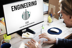 Engineering Create Ideas Occupation Professional Concept. Businessman using computer engineering create ideas occupation professional Stock Photography