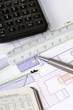 Engineering Design 1. Engineering layout and drawings on a table stock images