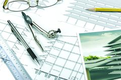 Engineering Design and Drawing. On a table stock photo
