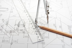 Engineering Design and Drawing. With a pair of dividers, pencil and ruler royalty free stock photos