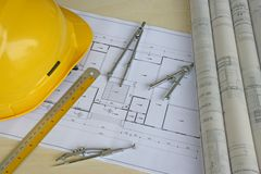 Engineering Design and Drawing. Typical depiction of engineering design and drawing work stock photography