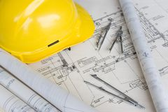 Engineering Design and Drawing. Typical depiction of engineering design and drawing work stock images