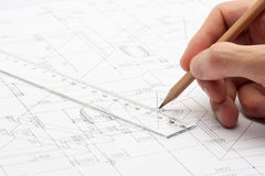Engineering Design and Drawing. With pencel and ruler stock photos