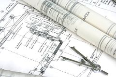 Engineering Design and Drawing. Typical depiction of engineering design and drawing work royalty free stock photo