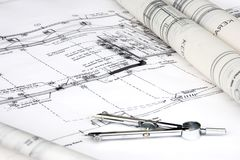 Engineering Design and Drawing. Typical depiction of engineering design and drawing work stock photo