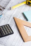 Engineering and design. Drawing and calculator, tape measure, ruler on the table stock photo