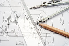 Engineering Design and Drawing tools. Engineering Design and Drawing with a pair of dividers, pencil and ruler stock photos