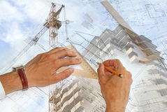 Engineering designing. The newest computer maintenance is widely used in building designing Stock Image