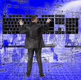 Engineering designing. Engineer and keypad over engineering background Stock Image