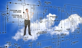 Engineering designing. Over blue sky background Stock Photography
