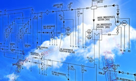 Engineering designing. Of systems of automation of the industrial power electric equipment Stock Photo
