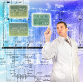 Engineering designing. Over abstract blue background Stock Photos