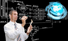 Engineering designing communications connection technologies. Creation innovative technology future Stock Photo