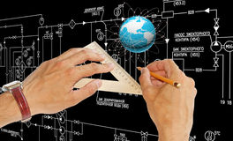 Engineering designing connection tecnology Stock Images